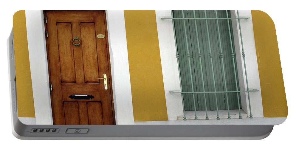 Window Portable Battery Charger featuring the photograph French Doorway by Dave Mills