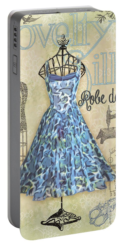 Digital Art Portable Battery Charger featuring the digital art French Dress Shop-b by Jean Plout