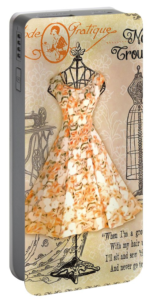 Digital Art Portable Battery Charger featuring the digital art French Dress Shop-c by Jean Plout