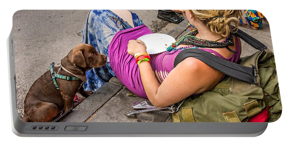 French Quarter Portable Battery Charger featuring the photograph French Quarter - Pizza Puppy by Steve Harrington
