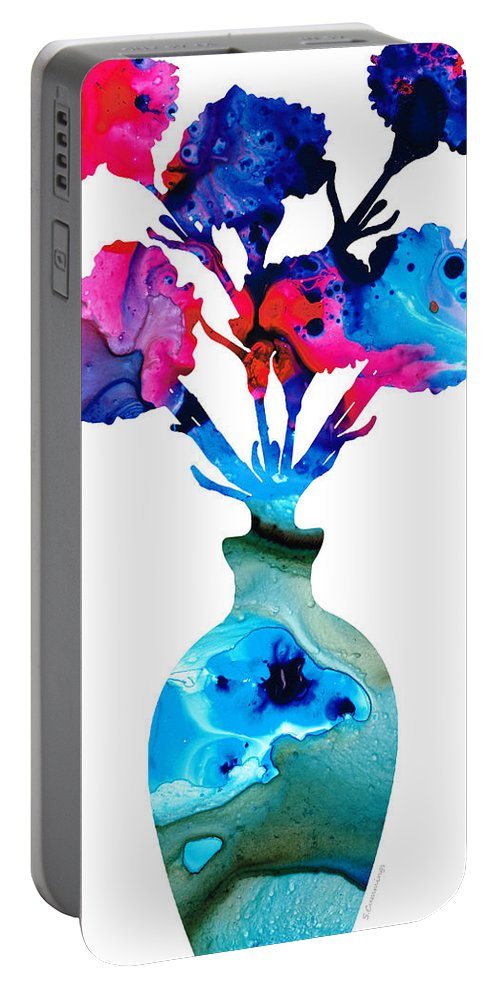 Sharon Cummings Portable Battery Charger featuring the painting Fresh Cut - Vibrant Flowers Floral Painting by Sharon Cummings