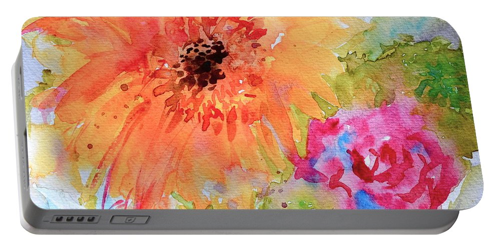 Fresh Flowers Portable Battery Charger featuring the painting Fresh Flowers by Beverley Harper Tinsley