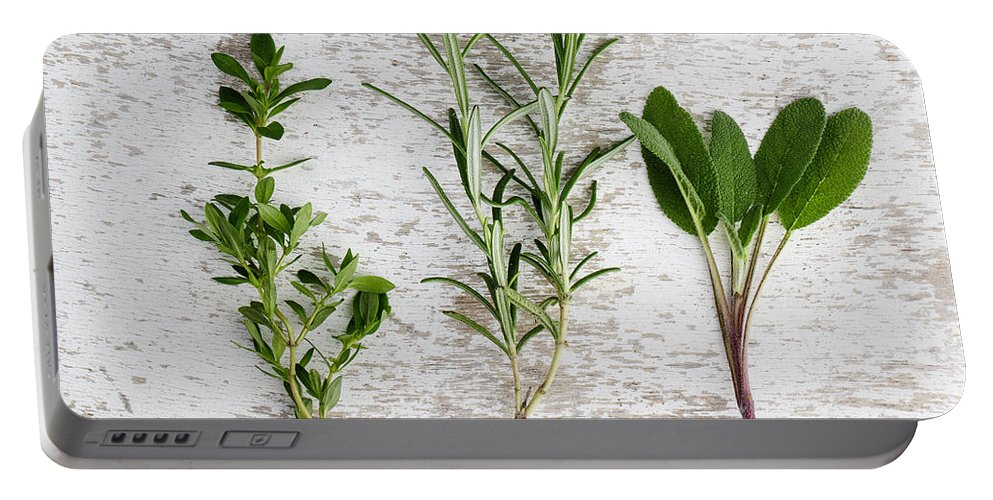 Rosemary Portable Battery Charger featuring the photograph Fresh Herbs by Nailia Schwarz