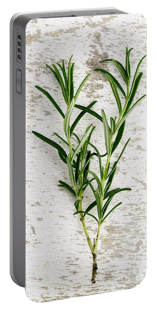 Rosemary Portable Battery Charger featuring the photograph Fresh Rosemary by Nailia Schwarz