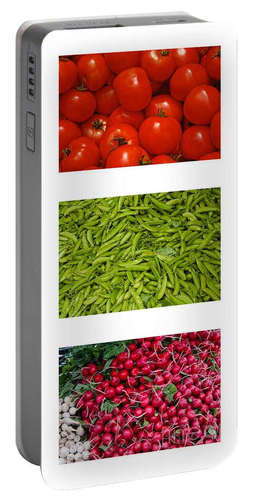 Tomato Portable Battery Charger featuring the photograph Fresh Vegetable Triptych by Thomas Marchessault