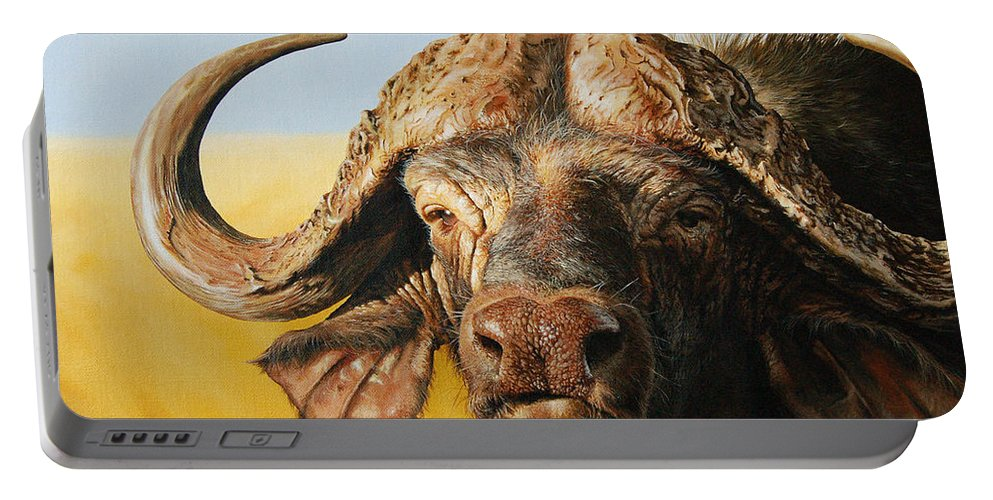 Buffalo Portable Battery Charger featuring the painting African Buffalo by Mario Pichler