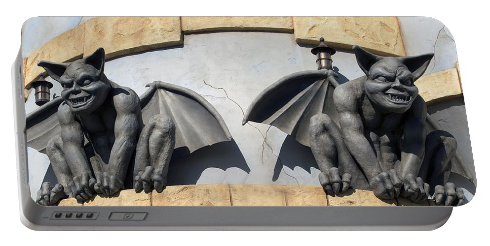 Darkness Portable Battery Charger featuring the digital art Frick And Frack Santa Cruz Gargoyles by Barbara Snyder