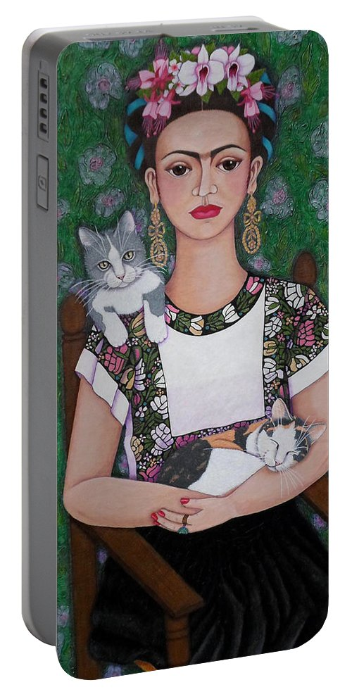 Frida Portable Battery Charger featuring the painting Frida Cat Lover by Madalena Lobao-Tello