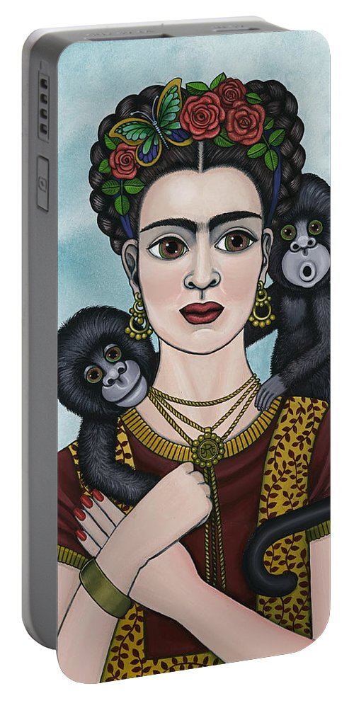 Frida Kahlo Portable Battery Charger featuring the painting Frida In The Sky by Victoria De Almeida