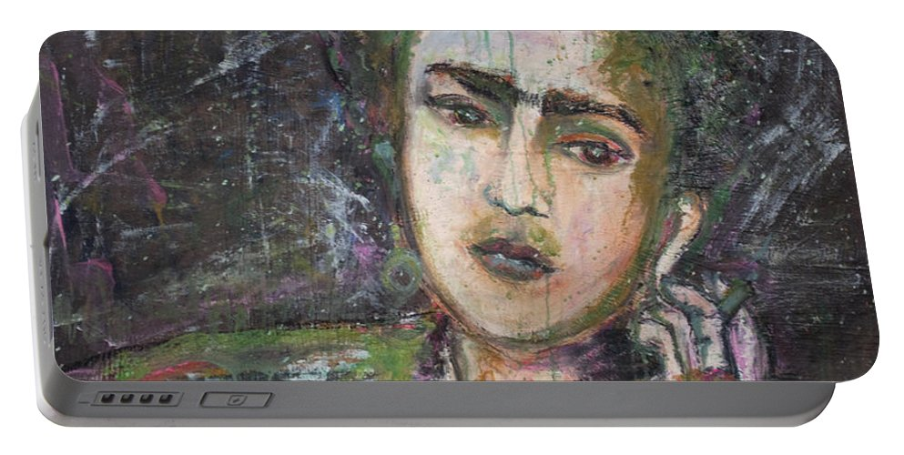 Frida Kahlo Portable Battery Charger featuring the painting Frida Y Cigarrillos by Laurie Maves ART