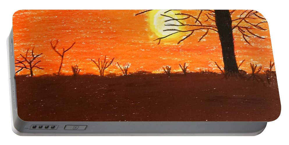 Pastels Portable Battery Charger featuring the pastel Friendly Sunset by Lisa Byrne