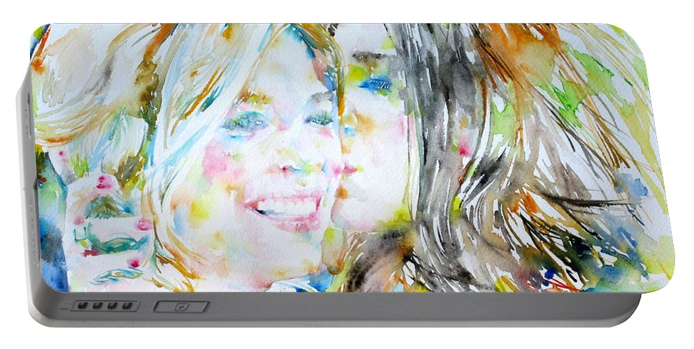 Girl Portable Battery Charger featuring the painting Friends by Fabrizio Cassetta