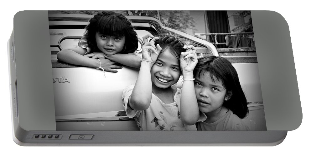 Black And White Portable Battery Charger featuring the photograph Friendship by Ian Gledhill