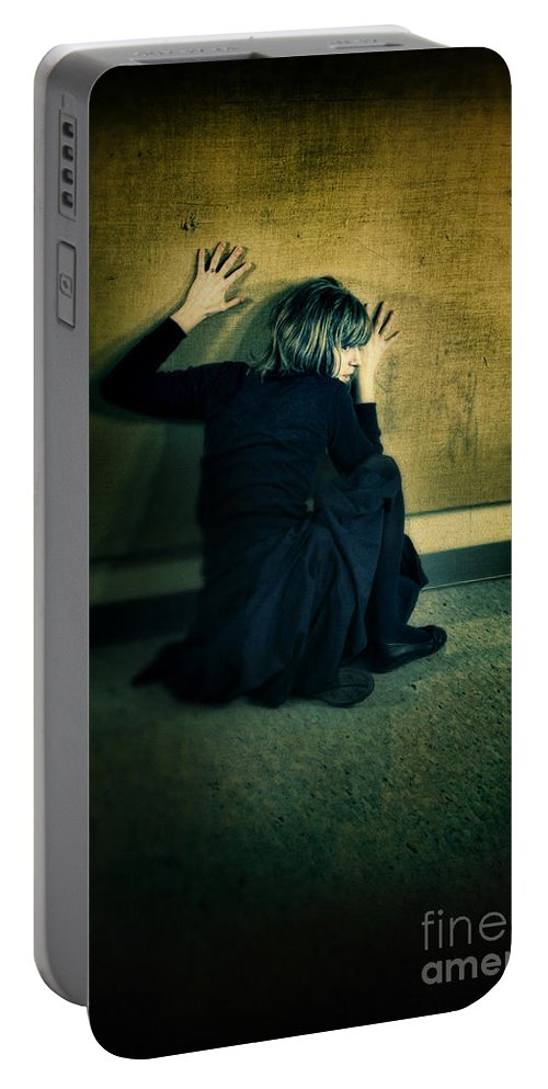 Woman Portable Battery Charger featuring the photograph Frightened Woman by Jill Battaglia