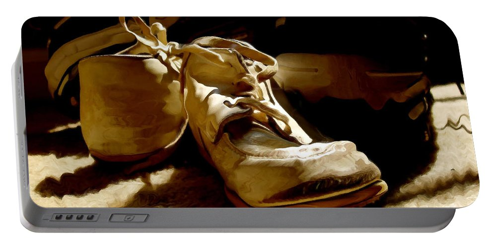 Shoe Portable Battery Charger featuring the photograph From Baby To Man In The Blink Of An Eye by Lois Bryan