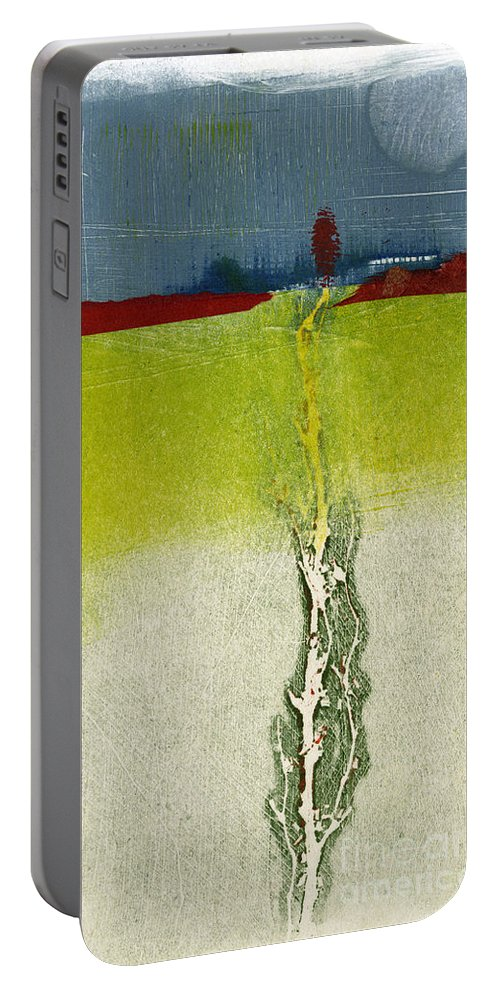 Monotype Portable Battery Charger featuring the painting From Below by Kelley Albert