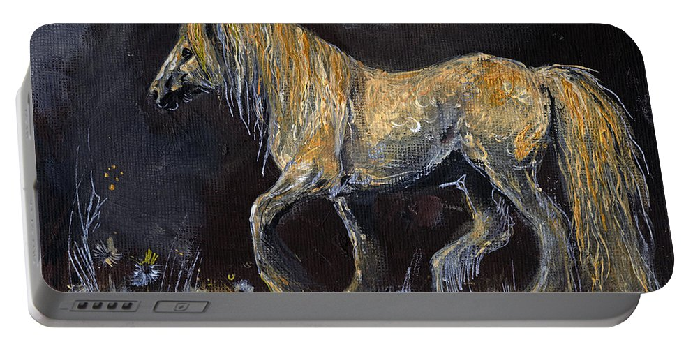 Shire Horse Portable Battery Charger featuring the painting From The Darkness by Angel Ciesniarska