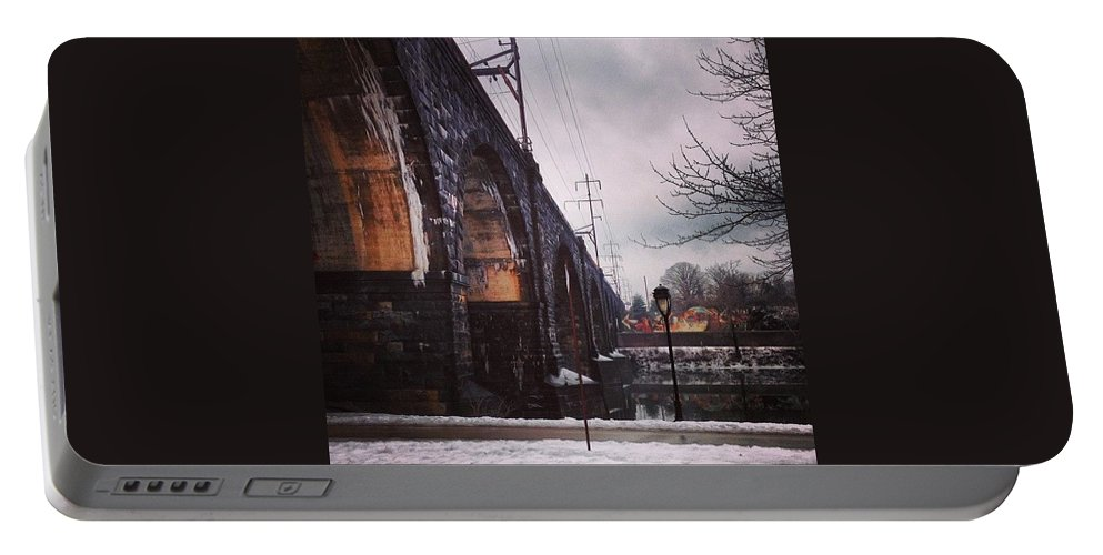 Ilovephilly Portable Battery Charger featuring the photograph From The Window Of A Speeding Car! J/k by Katie Cupcakes