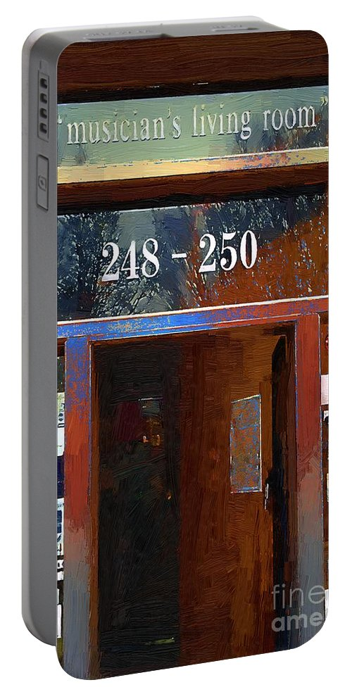 Door Portable Battery Charger featuring the painting Front Door At The Cafe Nine by RC DeWinter