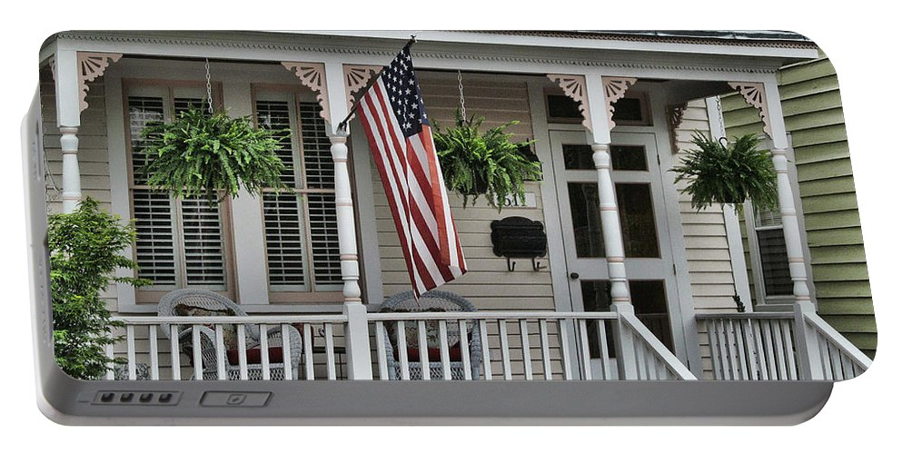 Victor Montgomery Portable Battery Charger featuring the photograph Front Porch Flag by Victor Montgomery
