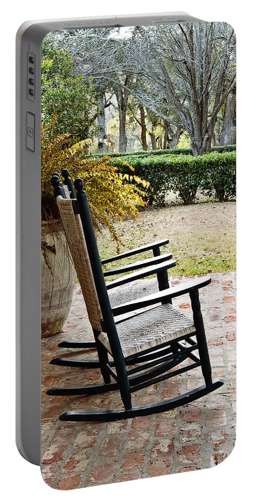 Rocking Chair Portable Battery Charger featuring the photograph Front Porch Rockers by Scott Pellegrin