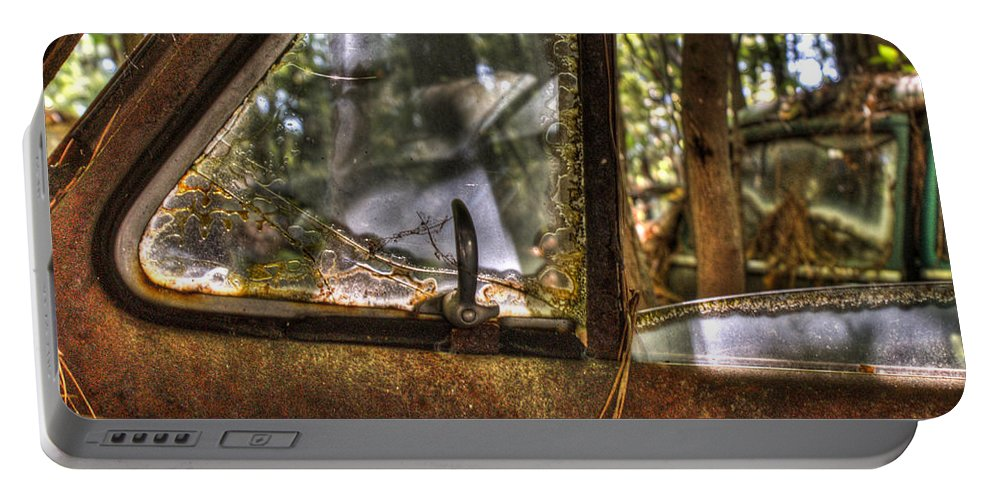 Window Portable Battery Charger featuring the photograph Front Side Window Antique Car by Douglas Barnett
