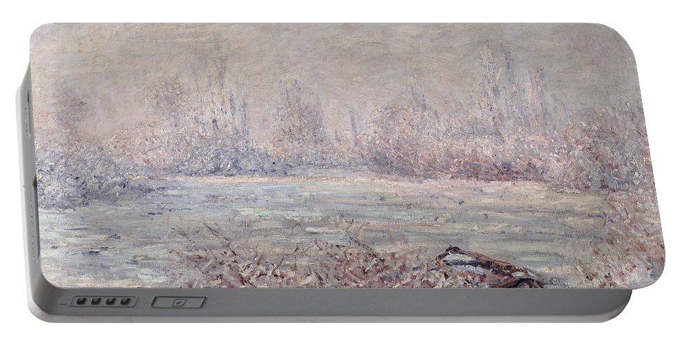 Impressionist Portable Battery Charger featuring the painting Frost Near Vetheuil by Claude Monet