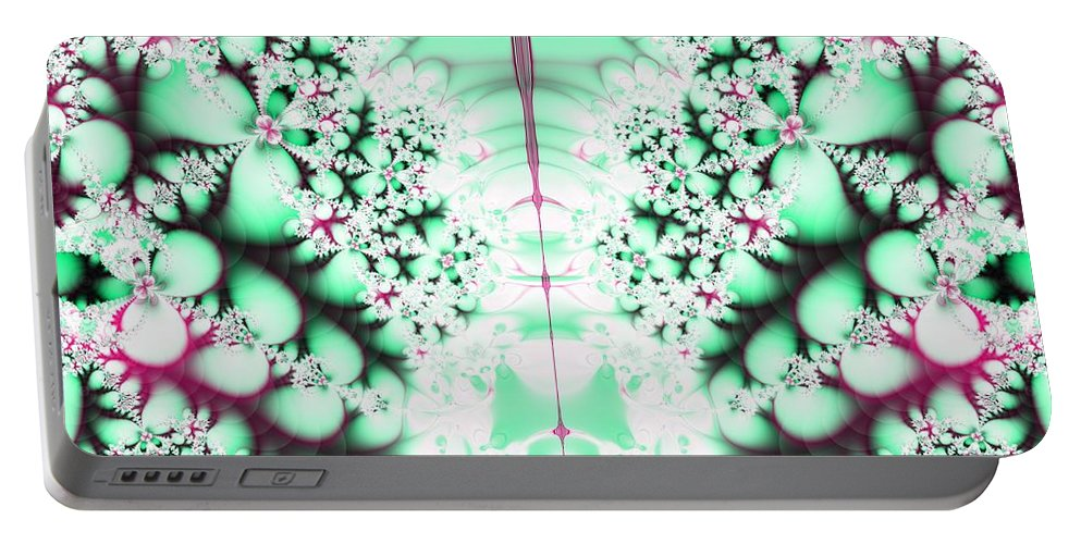 Frost On The Grass Fractal Portable Battery Charger featuring the digital art Frost On The Grass Fractal by Rose Santuci-Sofranko