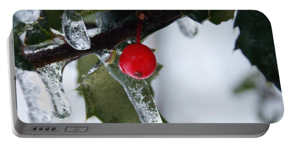 Holly Portable Battery Charger featuring the photograph Frosted Holly by Shana Rowe Jackson