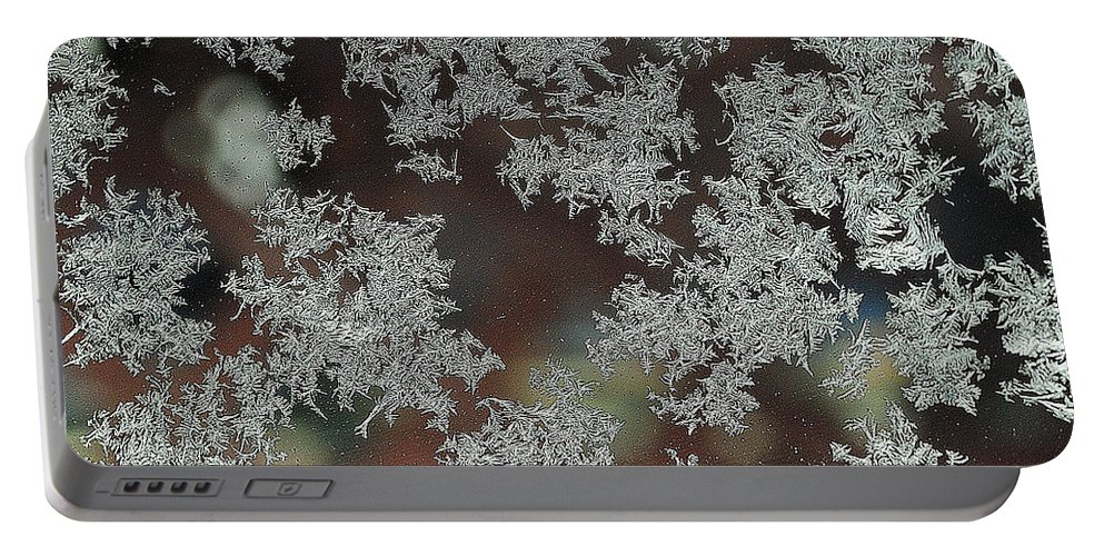 Frost Portable Battery Charger featuring the photograph Frosted Window by Frozen in Time Fine Art Photography