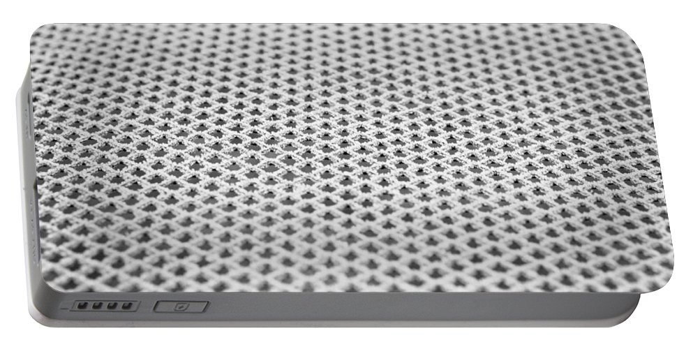 Abstract Portable Battery Charger featuring the photograph Frosty Metal by Tom Gowanlock