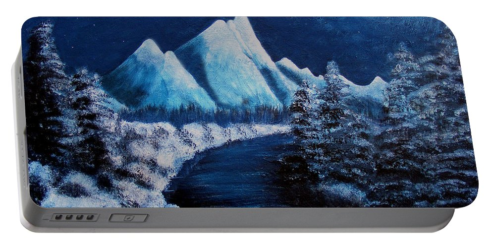 Barbara Griffin Portable Battery Charger featuring the painting Frosty Night In The Mountains by Barbara Griffin