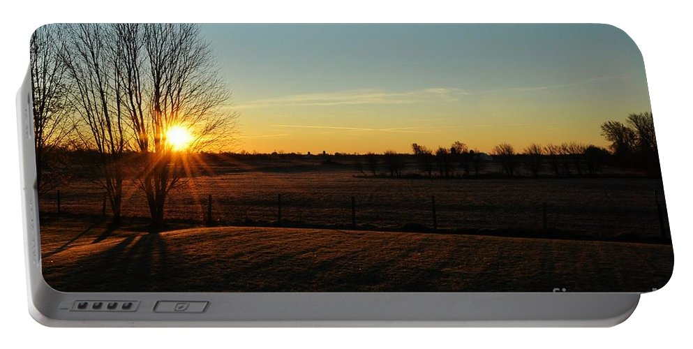 Sunrise Portable Battery Charger featuring the photograph Frosty Sunrise by Cheryl Baxter