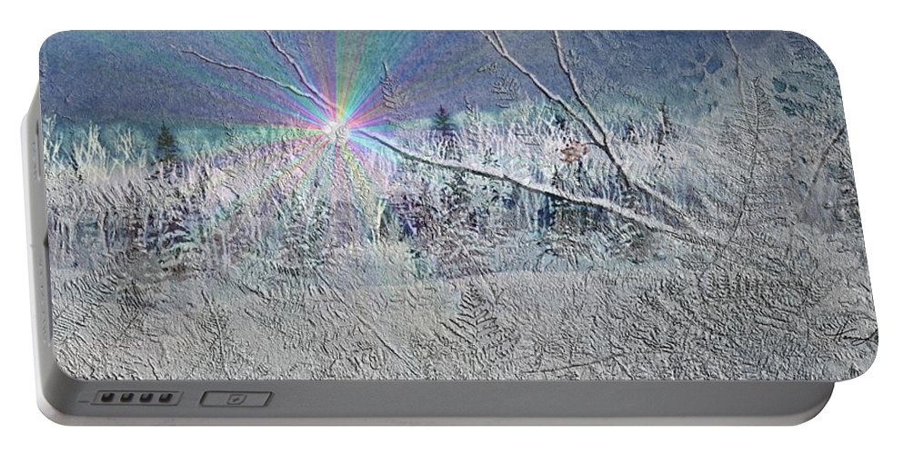 Winter Portable Battery Charger featuring the painting Frosty Window Distant Sun by Hanne Lore Koehler