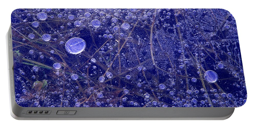 North America Portable Battery Charger featuring the photograph Frozen Bubbles In The Merced River Yellowstone Natioinal Park by Dave Welling
