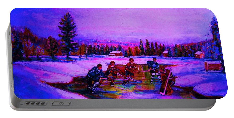 Hockey Portable Battery Charger featuring the painting Frozen Pond by Carole Spandau