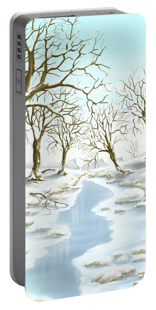 Ipad Portable Battery Charger featuring the painting Frozen River by Veronica Minozzi