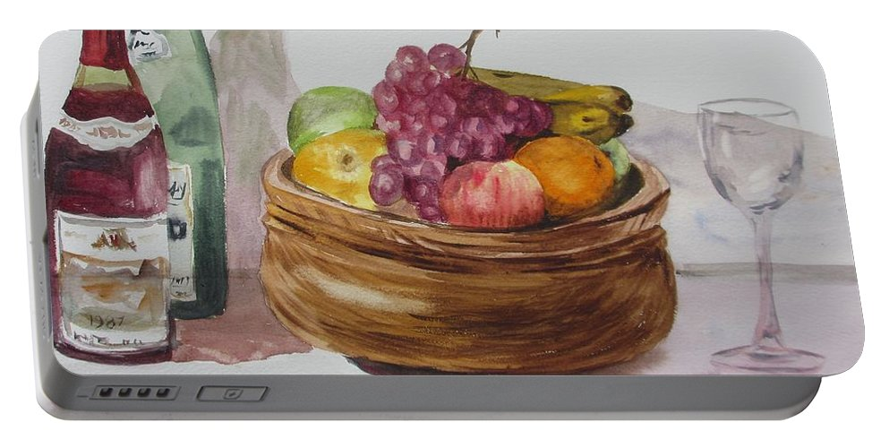 Fruit And Wine Portable Battery Charger featuring the painting Fruit And Wine by Martin Howard