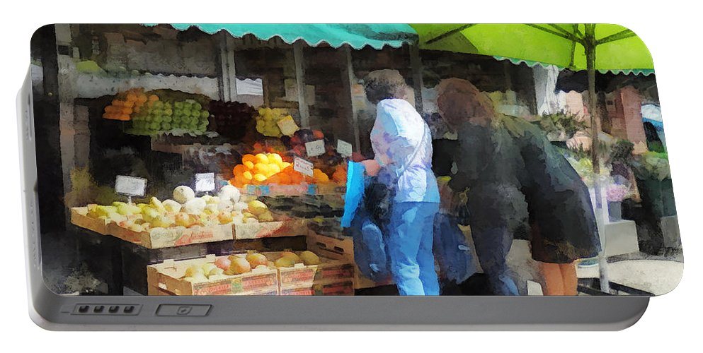 Fruit Portable Battery Charger featuring the photograph Fruit For Sale Hoboken Nj by Susan Savad