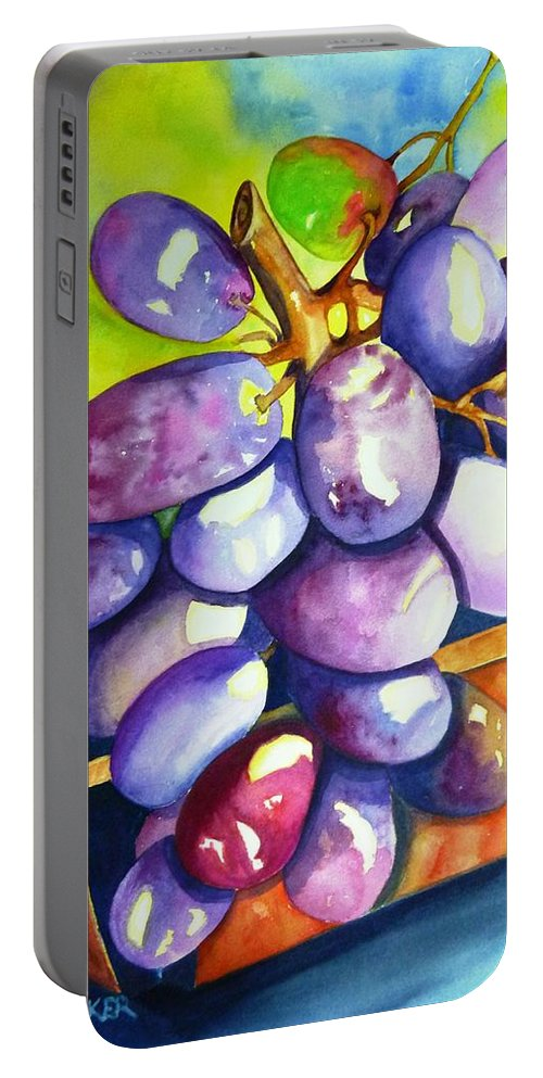 Rainbow Grapes Portable Battery Charger featuring the painting Purple Grapes by Jane Ricker