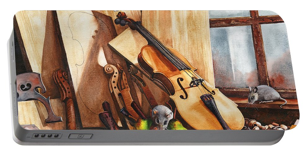 Wood Portable Battery Charger featuring the painting Fruit Of The Wood by Peter Williams