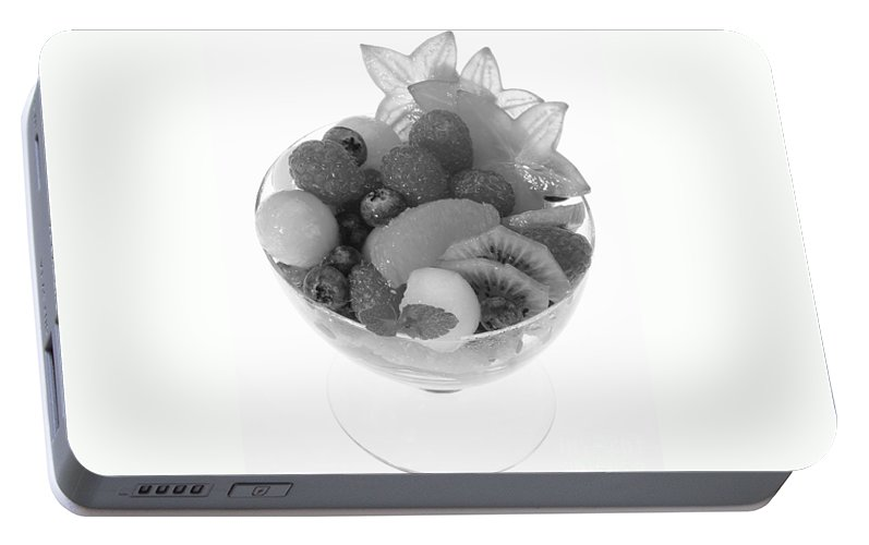 Food Portable Battery Charger featuring the photograph Fruit Salad Cup Black And White by Iris Richardson