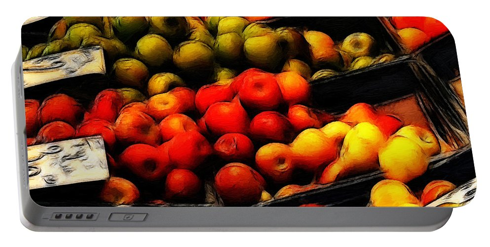 Fruit Fruits Vegetable Market Shop Grocer Gree Apple Orange Painting Oil Art Expressionism Color Colorful Portable Battery Charger featuring the painting Fruits On The Market by Steve K