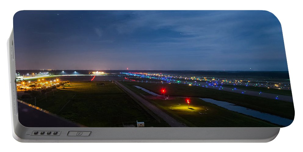 Airport. Runway Portable Battery Charger featuring the photograph Ft. Myers Runway by Shannon Harrington