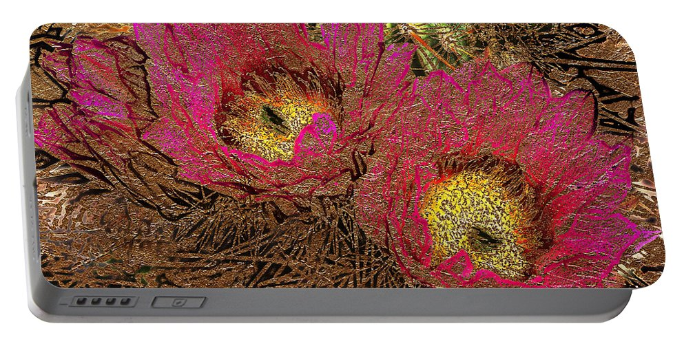 Flowers Portable Battery Charger featuring the photograph Fuchsia Cactus Flowers Gold Leaf by Phyllis Denton