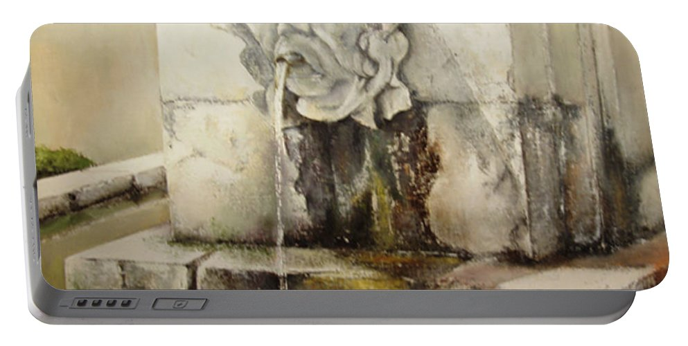 Fuente De San Isidoro- Leon Portable Battery Charger featuring the painting Fuente de San Isidoro by Tomas Castano