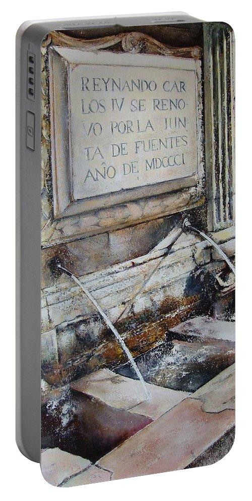 Fuente De San Martin. Leon Portable Battery Charger featuring the painting Fuente de San Martin by Tomas Castano