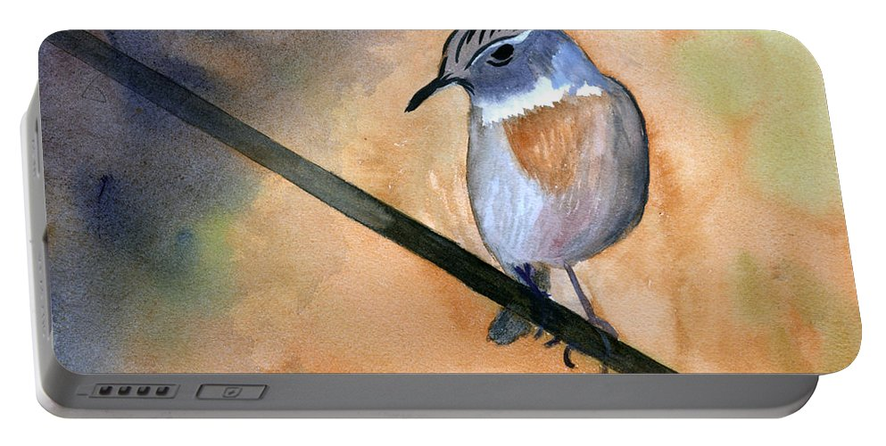 Animal Portable Battery Charger featuring the painting Fuerteventura Chat by Donna Walsh