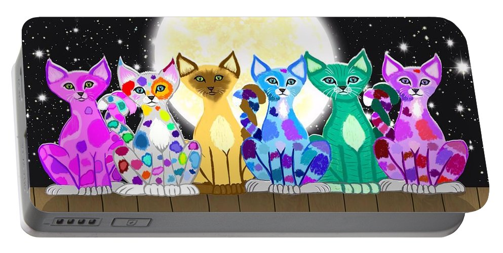 Cat Portable Battery Charger featuring the painting Full Moon Felines by Nick Gustafson