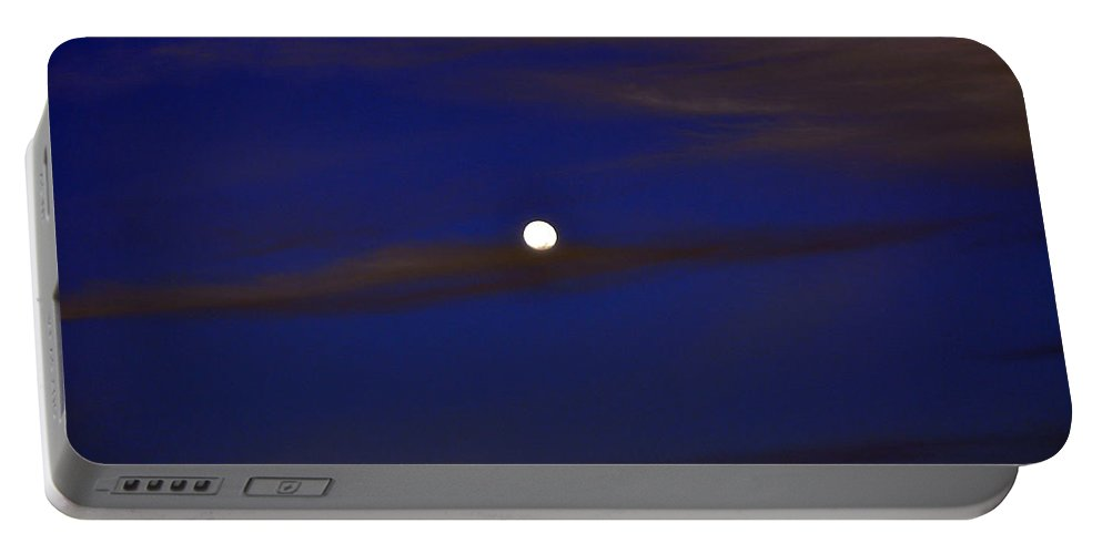 Color Portable Battery Charger featuring the photograph Full Moon With Cirrus Clouds Night Usa by Sally Rockefeller